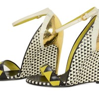 SERGIO ROSSI NIB Yellow/Black/White Abstract Cut-Out Wedge Sandals sz 36.5