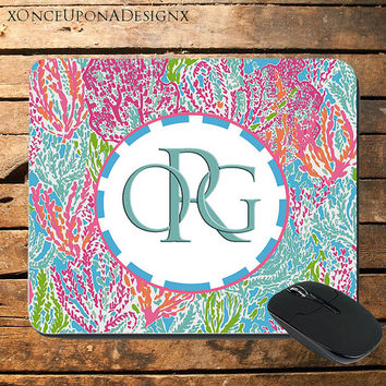 Lily Pulitzer Inspired Mousepad Lily Pulitzer Mouse Pad Tigers Custom Mouse Pad Colorful Mouse Pad Monogram Mouse Pad Monogrammed Mouse Pad
