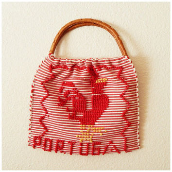 Vintage Wicker Handle Red White Oversized Hippie Boho Rooster Portugal Carpet Handbag Purse