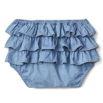 Chambray ruffle bloomers | Gap