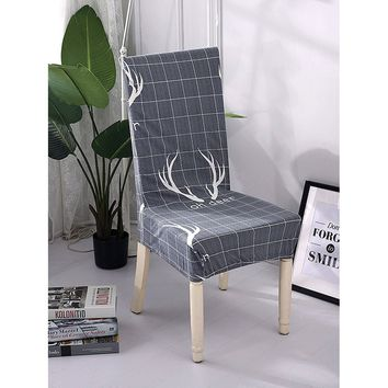 Slogan Print Stretchy Chair Cover