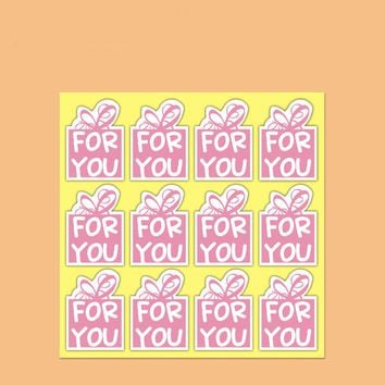 120pcs/lot 2.5cm*2.5cm Pink Color For You Stickers DIY Hand Made For Gift Cake Baking Sealing Sticker