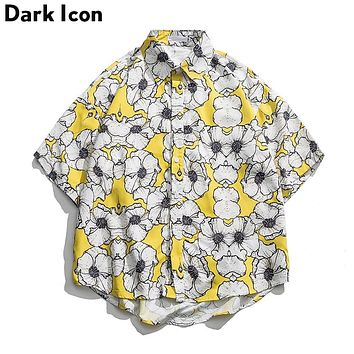 Dark Icon Yellow Floral Summer Hawaii Style Men's Street Shirt
