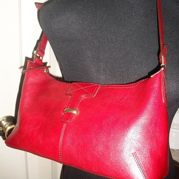 vintage RED Etienne Aigner Leather shoulder bad Hand bag Purse