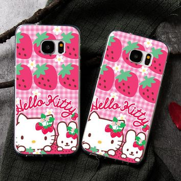 Cute strawberries Hello Kitty Cover Case For Samsung Galaxy A7200 A5200 A720F 2017 A7100 A5100 A7 A5 2016 S8 S8 plus phone cases