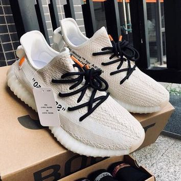 Off-White x Adidas Yeezy Boost 350 V2 Fashion Women Men Casual Sport Shoes Sneakers