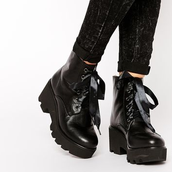 London Rebel Platform Ribbon Lace Ankle Boots