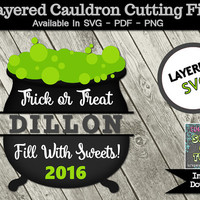 Cauldron Trick or Treat Cutting Files Layered SVG Fill With Sweets  Halloween Design PNG PDF Iron On Vinyl Outdoor Sign