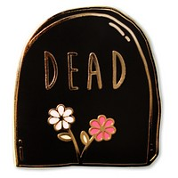 Dead Tomb Flowers Enamel Pin in Black