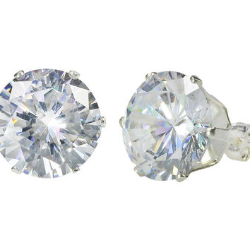 Sterling Silver HUGE Clear Cubic Zirconia Stud Earrings Round CZ Prong 9mm-14mm