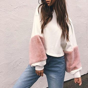Sudaderas Mujer Faux Fur Cropped Hoodies Women Pacthwork Sweatshirts Tracksuit Oversized Long Sleeve Casual Loose Pullover Tops