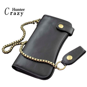 New Men's Biker Black Leather Long Wallet Bifold Zipper Purse With Chain Retro Billfold