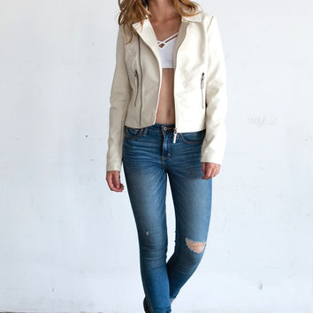 Haley White Vegan Leather Jacket