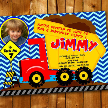 Construction Dump Truck, Birthday Invitation, Birthday Party for little boy and little girl