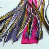 Purple Feather Extension Long Feathers for Hair Bonded Grizzly Saddles