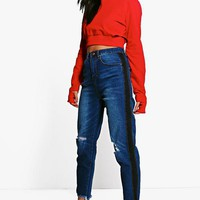 Hatty High Rise Two Tone Stripe Boyfriend Jeans | Boohoo