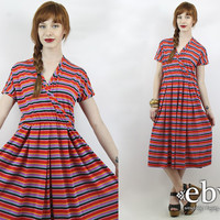 Vintage 80s Red Striped Day Dress L XL Summer Dress Striped Dress L Dress XL Dress Striped Midi Dress Rainbow Dress