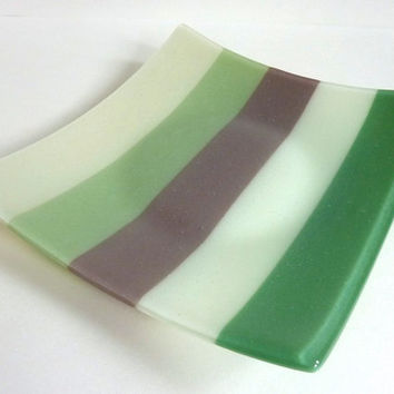 Fused Glass Plate in Shore Tone Stripes of French Vanilla, Willow, Mocha, Chalk and Mineral Green