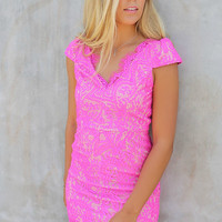 Miami Spotlight Hot Pink Fitted Open Back Lace Dress