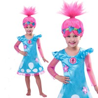 2018 children spring summer Trolls Poppy Magic Clothes cotton Birthday Party Dress Wig + dress Costumes for girl