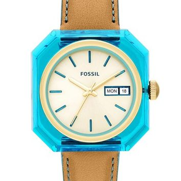 Fossil 'Wrist Pop' Square Case Leather Strap Watch, 36mm