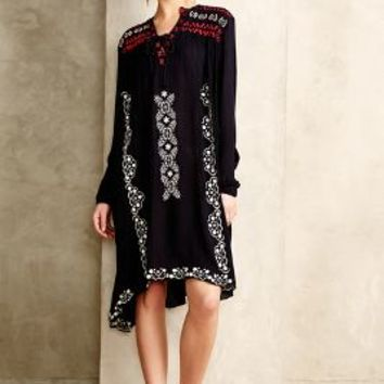 Embroidered Peasant Dress by Hazel Navy