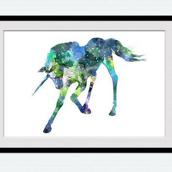 Unicorn art print Unicorn poster Unicorn watercolor decor Home decoration Kid room decor Nursery room art Birthday gift Unicorn in blue W481
