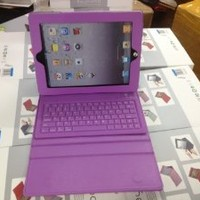 Booklet Synthetic Leather Case Cover (Purple) with Stand Mount + Wireless Bluetooth Keyboard for 1st Gen 2nd Generation Ipad 2/Ipad 3/ iPad 4 and ipad mini (4th Gen) -Apple iPad Tablet