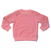 Crew Neck Sweater With Applique Dusty Pink