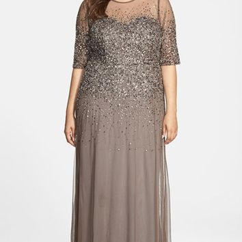 Plus Size Women's Adrianna Papell Beaded Illusion Gown,