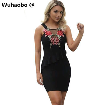 Wuhaobo Women Sexy Embroidery Flora Mini Dresses Office Party Night Club Dress Mujer Femme Robe Ruffles Black Hollow Vestidos