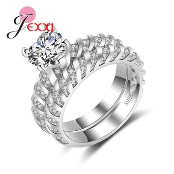 JEXXI New Arrival Romantic Heart Crystal Rings Set For Women Wedding Jewelry 925 Sterling Silver Bridal Jewelry CZ Zircon Ring