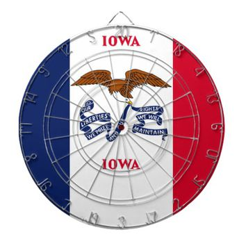 Dartboard with Flag of Iowa, USA