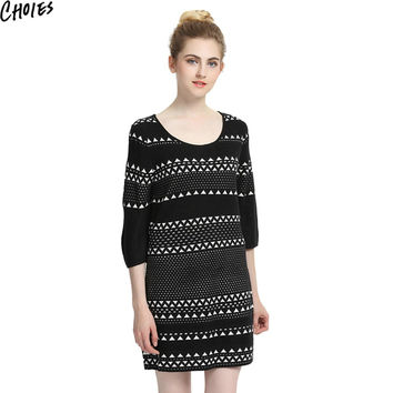 Women Black Contrast Chevron Pattern 3/4 Sleeve Knitted Mini Shift Dress 2017 New Autumn Round Neck Elegant Stretchable Knitwear