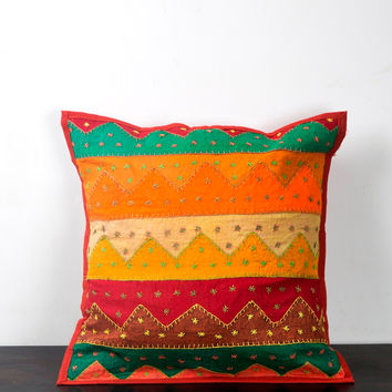 Multi Color Pillow Cover, Kantha Cushion Covers, Kantha Pillow Cover, Cotton Cushion Covers, Multi Color Cushion Cover