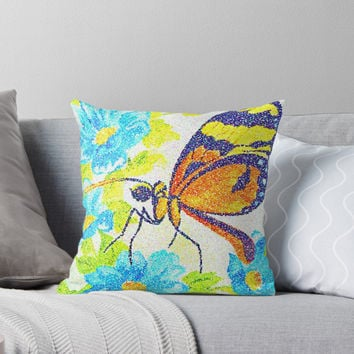 'Butterfly Beauty. Pointillism from a watercolour painting. ' Throw Pillow by OakendOriginals