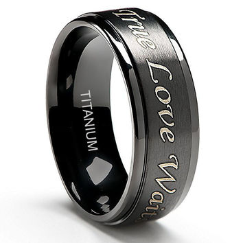 8mm True Love Waits Purity Ring in Titanium Black Plated
