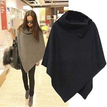 Autumn&Winter 4 Colors Women Coat Poncho Casual Overcoat Zipper Loose Pullover Cloak Sweater Cape Outwear 2018 Fashion Hot Sale
