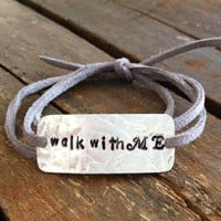 CUSTOM quote bracelet, stamp any quote or lyrics you want, hand stamped mothers gift, teachers gift, wrap bracelet, faux suede