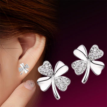 Fashion Jewelry Silver Plated  Stud Earrings Vintage Lucky Clover Scrub Flower  Four Leaves Earring Women  bague femme