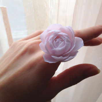 Rose, polymer clay, ring, flower, floral, jewelry, polymer clay flower, rose ring,  flower ring, peony, peony jewelry, flower jewelry