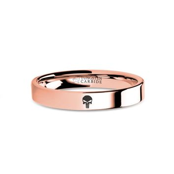Punisher Skull Logo Engraved Rose Gold Tungsten Wedding Ring
