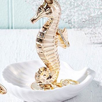 Seahorse Sea Life Ring Holder Jewelry Dish