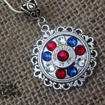 bullet necklace, bullet jewelry, patriotic necklace, 4th of july, red white and blue, america USA, military gift, police gift, enlistment