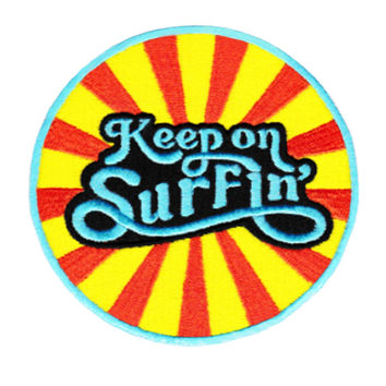 Vintage 70's 80's Style Keep on Surfin' Beach Surfing Surfer Shirt Patch Badge for Cap Hat 9cm Applique