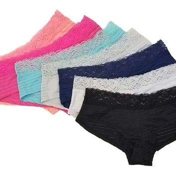 Woman's Microfiber Boy Short Hipster Panties with Lace Trim Value Pack (7 Pack)