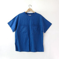 vintage cotton linen top. short sleeved top. cobalt blue pocket shirt. minimalist.