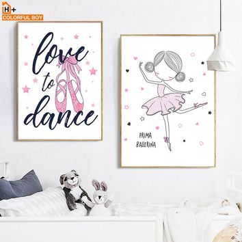 Girl Ballet Dance Quotes Wall Art Canvas Painting Nordic Posters And Prints Cartoon Nursery Wall Pictures Girls Kids Room Decor