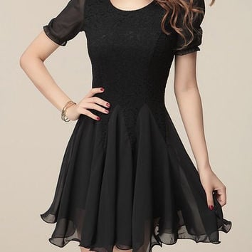Black Short Sleeve Ruffled Chiffon Dress
