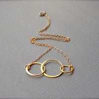 Interlocking Rings Necklace, 3 Entwined Circles 24k Gold Vermeil, Joined Trio - Everyday Pretty Geometric Jewelry - Mother Sister Bridesmaid